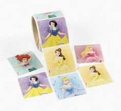 """Disney Princesses Roll Stickers (100) by Disney. $12.95. Roll of 100 stickers. Share them with party guests as a party favor. Each sticker measures approx. 2 1/2"""" x 2 1/2"""". Official Disney princesses - Ariel, Aurora, Cinderella, Snow White, Belle. Fun for school, scrapbooking, princess theme birthday parties. Disney Princesses Roll Stickers. Assorted styles. (100 stickers/bar coded roll, shrink-wrapped) 2 1/2"""" x 2 1/2"""" © Disney"""