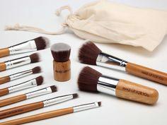 Bamboo makeup brushes.