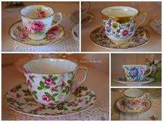 """*Top left--American Beauty duo!!! Bernideen's Tea Time Blog: TEATIME COLLAGES for """"Friends Sharing Tea"""""""