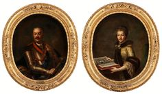 Portrait of Jan Klemens Branicki and his wife Izabela Poniatowska by Augustyn Mirys, 1750s (PD-art/old), Private collection