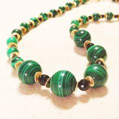 Green Malachite Necklace Gold Jewelry Black by jewelrybycarmal, $85.00
