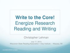 """WSRA 1-day Institute """"Write to the Core: Energize Research"""" with Chris Lehmann"""