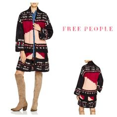 Free People Multicolor Sweater Coat Back stand collar, drop shoulders, long bell sleeves Open-front silhouette, allover pattern, chunky knit Alpaca suri/wool/nylon Dry clean Free People Sweaters
