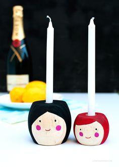 DIY: Mini Folk Candlesticks - <3!