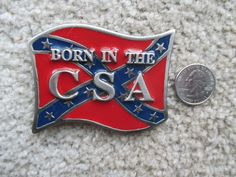 Buckle, Vintage CSA, Red Blue Enamel, Gray Grey, Southern, Born In The CSA by HobbitHouse on Etsy