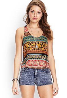 Abstract Striped Tulip Tank | FOREVER 21 - 2000121689