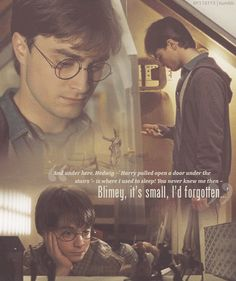 """""""'And under here, Hedwig -' Harry pulled open a door under the stairs.' - is where I used to sleep! You never knew me then - Blimey, it's small, I'd forgotten...'"""""""