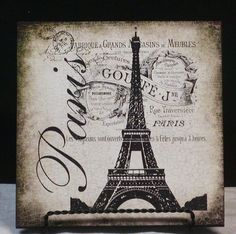 Vintage Inspired Paris Eiffel Tower French Wood Wall Plaque Sign   eBay