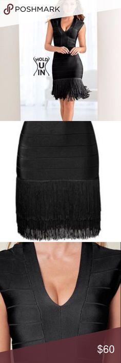VENUS INSTANTLY SLIMMING BLACK FRINGE DRESS VENUS INSTANTLY SLIMMING BLACK FRINGE DRESS SIZE 14 Little Black Dress VENUS Dresses