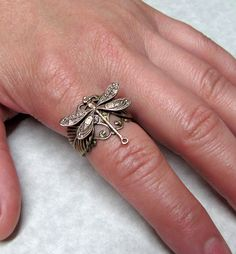 Forest of Dragonfly Leaf Ring. $20.99, via Etsy.