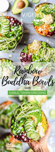 Rainbow Buddha Bowls with Garlic Tahini Dressing Vegan Dinner Recipes, Whole Food Recipes, Vegetarian Recipes, Healthy Recipes, Recipes With Tahini, Rice Recipes, Beef Recipes, Healthy Meals For Two, Healthy Eating