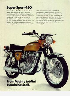 Honda CB-450. Like my old bike.  Bought for $70!  Times have changed!