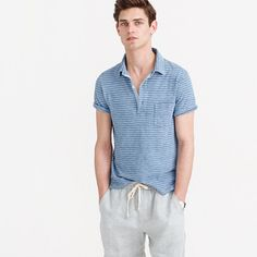 There's nothing quite like the unique fade that develops over time on garments dyed with true indigo. This striped polo shirt is no exception: It's dyed with the good stuff. In other words, it's a far cry from the beat-up one you wore in college. <ul><li>Cotton.</li><li>Rib trim at neck.</li><li>Chest pocket.</li><li>Side vents with tennis tail (slightly longer in back).</li><li>Machine wash.</li><li>Import.</li><li>Since this item is indigo dyed, it's prone to crocking, or color transfer…