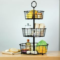 Amazon.com: 3 Tier Woven Rustin Wrought Iron Wire Basket with Top Handle 15.25'' d x 28'' Tall by Giftburg: Kitchen & Dining