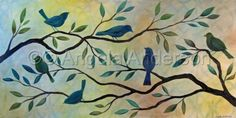 All The Love We Own by Angela Anderson Bird Art - Bird Silhouettes on Tree Branches Original Acrylic Painting