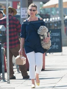 Spinning a yarn: Katherine Heigl popped out for coffee in Los Angeles on Tuesday while also picking up some knitting supplies