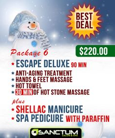 Christmas Gift idea #6: Buy your loved one a gift of pampering with our Signature Treatment - Escape. Escape includes anti-aging treatment, hands & feet massage, hot towels and 30 minutes of hot stone massage. This heavenly treatment can be purchase in package along with Shellac manicure & wonderful Spa Pedicure with Paraffin. Purchase in-store or online: http://sanctumsalonspa.com/specials