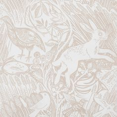 Mark Hearld - Harvest Hare - wallpaper - chalk white