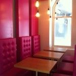 Our swanky, slidey pink booths! #itisonheadoffice