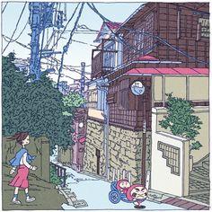 51景 鐙坂 51view abumizaka 「下町百景」51/100 #本郷 #イラスト #下町 #illust #japan #tokyo #hongou #drawing #散歩 #旅 #travel #japonism #sightseeing #tourist #ukiyoe #illustgram #tokyoolympic #tokyo2020