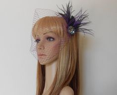 Purple and Black Birdcage Veil With Vintage Borealis Crystals and Ostrich Feathers by IrmasElegantBoutique.Etsy.com