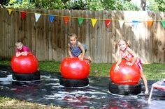 12 Summer Birthday Party Activities for Kids I Kids' Birthday Party Ideas - ParentMap.link to party favors and diy stickers Wipeout Birthday, Wipeout Party, Party Activities, Summer Activities, Party Games, Party Fun, Outdoor Activities, Perfect Party, Fun Games