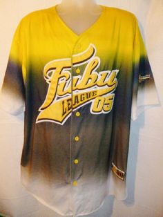 FUBU League Sports 05 Re Baseball Jersey HIP HOP Green Yellow XL