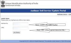 Do you want to check your aadhar card update or correction status online? After applying for the changes or update in your Aadhaar card details on the Self Service Update portal, you need to go bac… Aadhar Card, Urn, Self, Author, Check, Cards, Map, Playing Cards, Maps