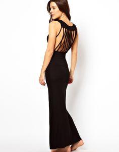 Asos Lattice Back Jersey Maxi Beach Dress in Black | Lyst