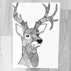New doodle on Sophias Monster #doodle #zentangle #deer #hirsch #illustration