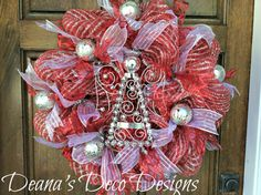 Red and Silver Angel Christmas wreath by DeanasDecoDesigns on Etsy