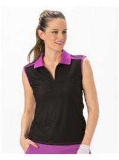e7ed0796d18c4 Nancy Lopez Plus Size Favor Trimmed Sleeveless Shirt-Black Purple Buy Shirts