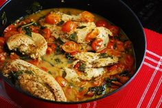 Checkout this fantastic Tomato Basil Chicken Recipe at LaaLoosh.com! Juicy chicken breasts served in a decadent tomato basil sauce for an unbelievable 3 Points + per serving.