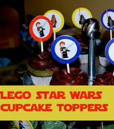 Star Wars Cupcake toppers. Might look cool to put the photos like this on a multilayered cake, maybe on those cool old time striped paper straws.