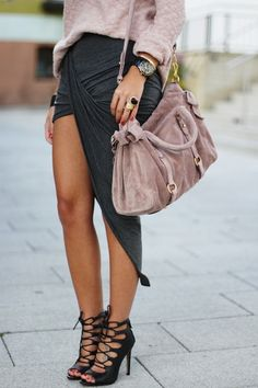 OMG I Love it all! Long short tulip skirt. Lace up high heels. Must have bag!