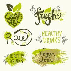 Vector set of healthy organic food labels. Organic shop logo, fresh, raw, healthy drinks, vegan menu.