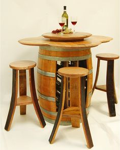 This unique wine rack table holds 24 bottles of your favorite wine. This barrel table set comes with and a removable wine barrel lazy Susan and 4 barrel stools. Wine Rack Table, Wine Barrel Table, Wine Barrels, Wine Crates, Home Decor Furniture, Furniture Making, Cool Furniture, Unique Wine Racks, Wine Barrel Furniture