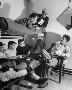 """College dorm life, 1940s.  I think the term is/was """"bull session."""""""