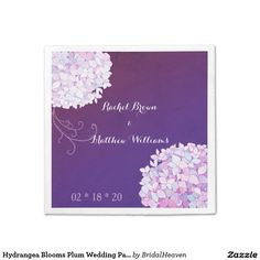 Hydrangea Blooms Plum Wedding Paper Napkins