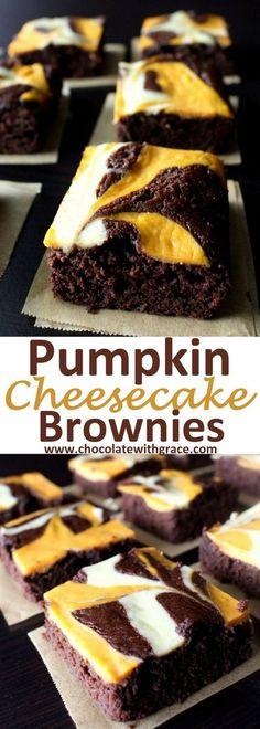 Pumpkin Cheesecake Swirled Brownies l Fall pumpkin recipes