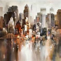 Beautiful abstract work by the brilliant Wilfred Lang. Found via ____________________________________ Check us out at Admin: by art_collective City Painting, Skyline Painting, Cityscape Art, Painting Abstract, Abstract City, Simple Acrylic Paintings, Sgraffito, City Art, Beautiful Paintings