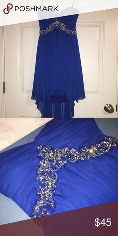 High Low Blue Embroidered Prom/Formal Dress Deb Prom dress from my 8th grade formal. In perfect condition, the tag says 3/4 but I altered it to fit a 0/00 size. All of the beading is intact. Deb Dresses Prom