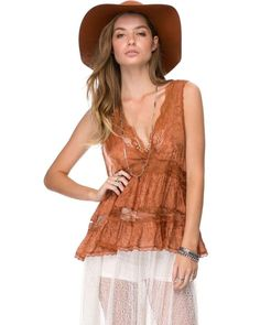 Free People Deep V Neck Tissue Jacqard Trapeze Copper Cami was $78 NWT Large #FreePeople #TankCami