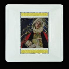"""Christmas Brooch """"'Madonna and Child' (Marianne Stokes)"""" postage stamp issued in Designed by Irene Von Trekow who also designed the Christmas stamps in The postage stamp is highlighted using a textured, gold paper. Royal Mail Postage, Madonna And Child, Gold Paper, Postage Stamps, Irene, Brooches, Festive, Children, Handmade Gifts"""