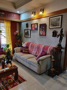 Creating an Indian inspired living room is all about mixing traditional Indian decor traditions with mor Living Room Decor Green Walls, Living Room Color Schemes, Living Room Designs, Indian Home Interior, Indian Home Decor, Ethnic Home Decor, Traditional Curtains, Indian Living Rooms, Cool Walls