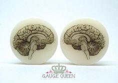 "Anatomical Brain Plugs / Gauges. 4g /5mm, 2g / 6mm, 0g / 8mm, 00g / 10mm, 1/2"" /12.5mm,9/16"" /14mm,5/8"" /16mm,3/4"" /19mm,7/8"" /22mm,1"" /25mm"