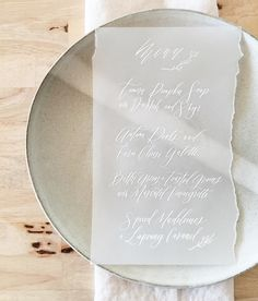 Vellum Dinner Menu by Silbia Ro