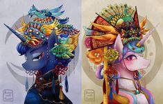 #1661219 - alicorn, alternate hairstyle, artist:buryooooo, bird, chinese new year, clothes, duo, eyeshadow, looking at you, makeup, peacock, princess celestia, princess luna, safe, smiling - Derpibooru - My Little Pony: Friendship is Magic Imageboard