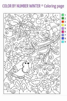 Nicole's Free Coloring Pages: COLOR BY NUMBER WINTER * Coloring page Make your world more colorful with free printable coloring pages from italks. Our free coloring pages for adults and kids. Adult Color By Number, Color By Number Printable, Printable Numbers, Color By Numbers, Free Printable, Free Coloring Sheets, Coloring Book Pages, Printable Coloring Pages, Coloring Pages For Kids