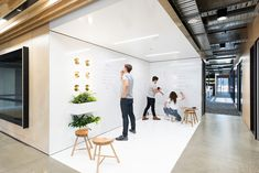 writable walls - office - meeting space - collaboration - whiteboard wall - Pin This Cool Office Space, Office Space Design, Workspace Design, Office Interior Design, Office Workspace, Working Space Design, Ikea Office, Office Spaces, Corporate Office Design